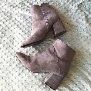Zara Gray Suede Cowboy Block Heel Boots EU…